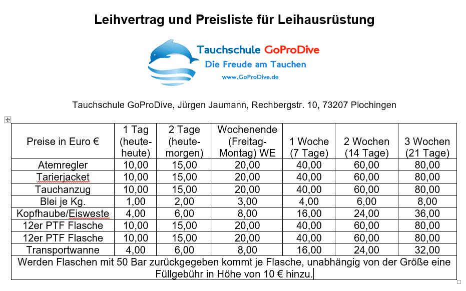 Tauchschule GoProDive Preise Leihausrüstung